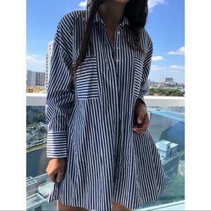 Carolina Herrera oversized striped tunic blouse M